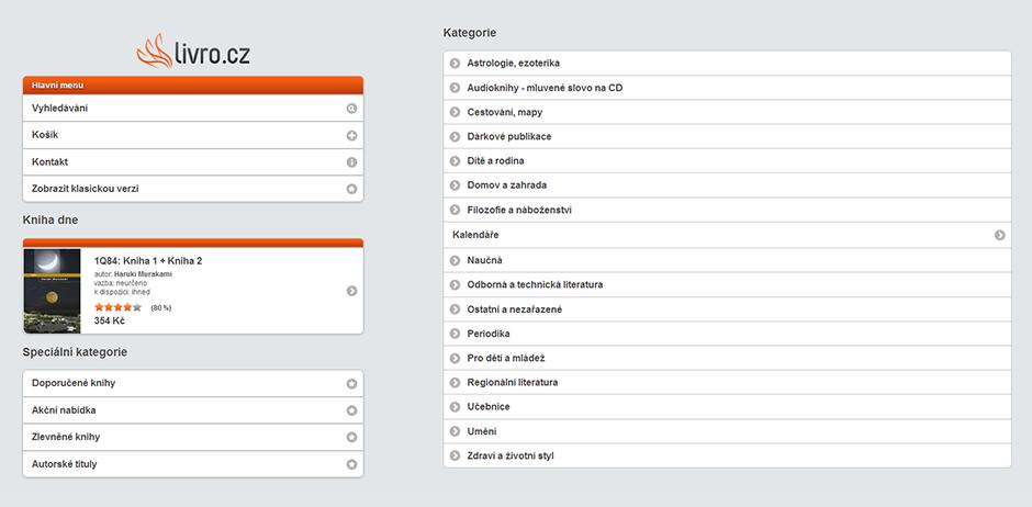 Livro.cz - mobilní verze - uvodní stránka