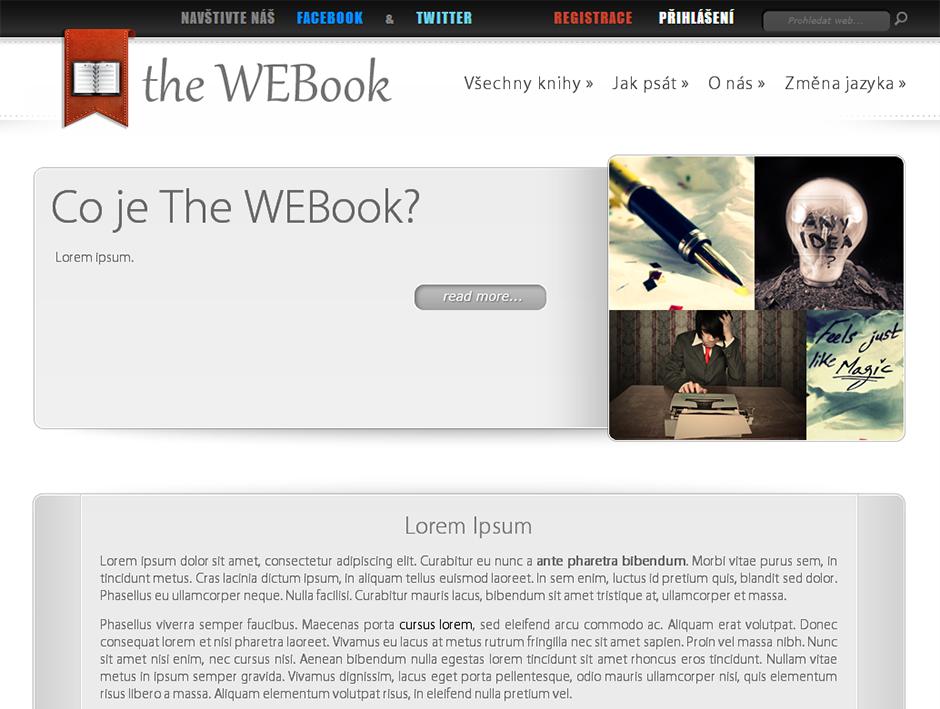 Webook - úvodní stránka